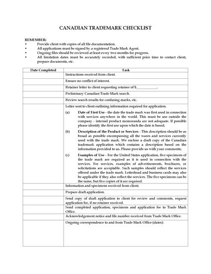 Picture of Checklist for Trade Mark Application | Canada
