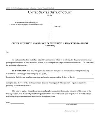 Picture of Order Requiring Assistance in Executing Tracking Warrant (USA)