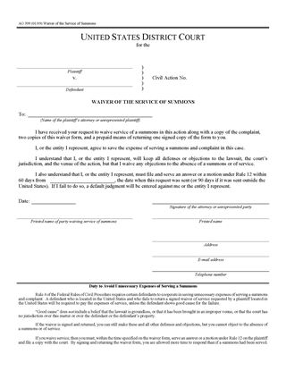 Picture of Waiver of Service of Summons (USA)