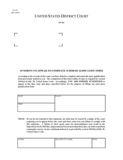 Picture of Summons to Appear to Complete Juror Qualification Form (USA)
