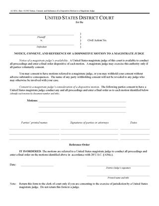 Picture of Notice, Consent and Reference of Dispositive Motion to Magistrate Judge (USA)