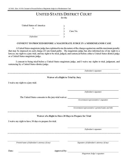 Picture of Consent to Proceed Before Magistrate Judge in Misdemeanor Case | USA