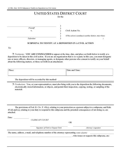 Picture of Subpoena to Testify at Deposition in Civil Action (USA)