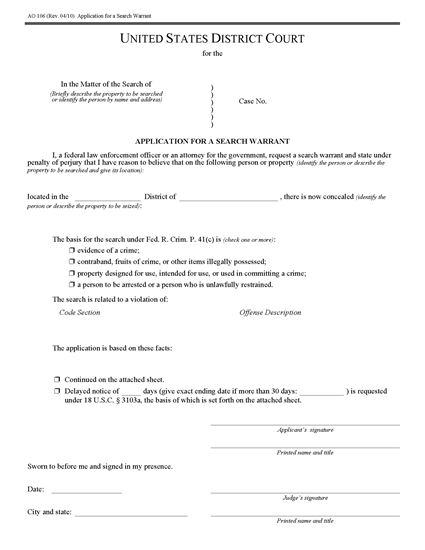 Picture of Application for Search Warrant | USA