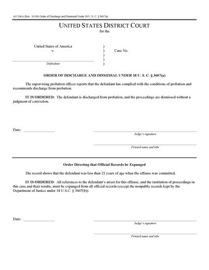 Picture of Order of Discharge and Dismissal under 18 USC s.3607a (USA)