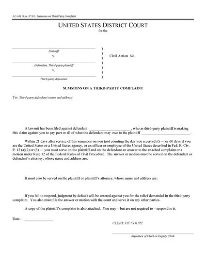 Picture of Summons on Third Party Complaint | USA