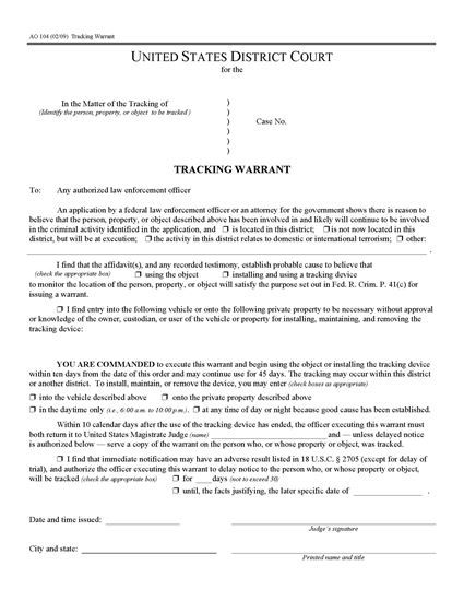 Picture of Tracking Warrant | USA
