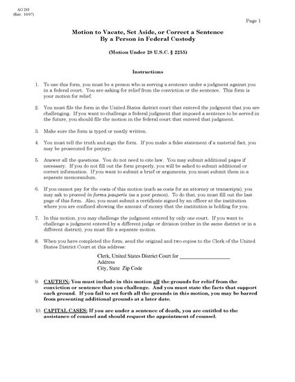 Picture of Motion to Vacate/Set Aside Sentence | USA