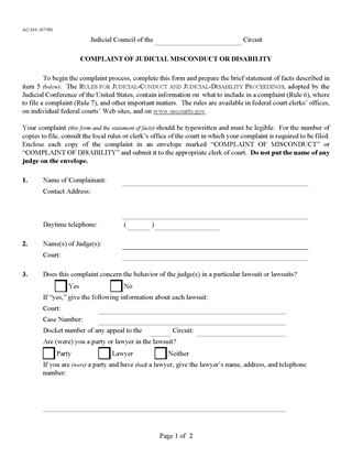 Picture of Complaint of Judicial Misconduct or Disability | USA