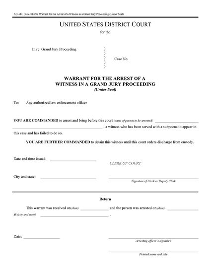 Picture of Arrest Warrant for Witness in Grand Jury Proceeding (USA)