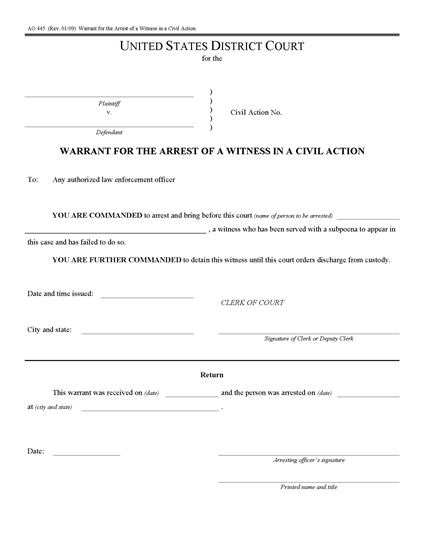 Picture of Arrest Warrant for Witness in Civil Action (USA)