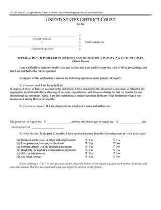 Picture of Application to Proceed Without Prepaying Fees or Costs-Short Form (USA)