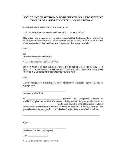 Picture of Notice to Prospective Tenant of Short Secure Tenancy | Scotland
