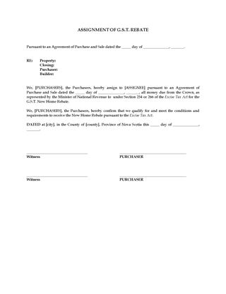Picture of Assignment of GST New Home Rebate   Canada