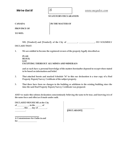 Picture of Alberta Statutory Declaration re Real Property Report
