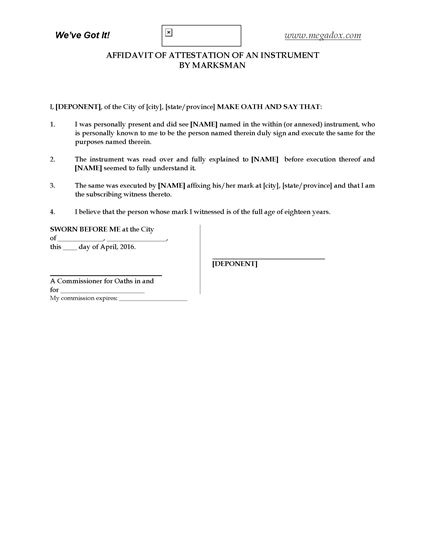 Picture of Affidavit of Attestation by Marksman | Canada