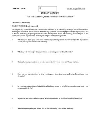 Picture of Questions for Employee for Performance Review
