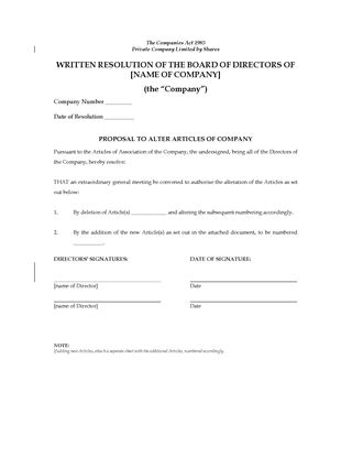 Picture of Special Resolution to Alter Company Articles | UK