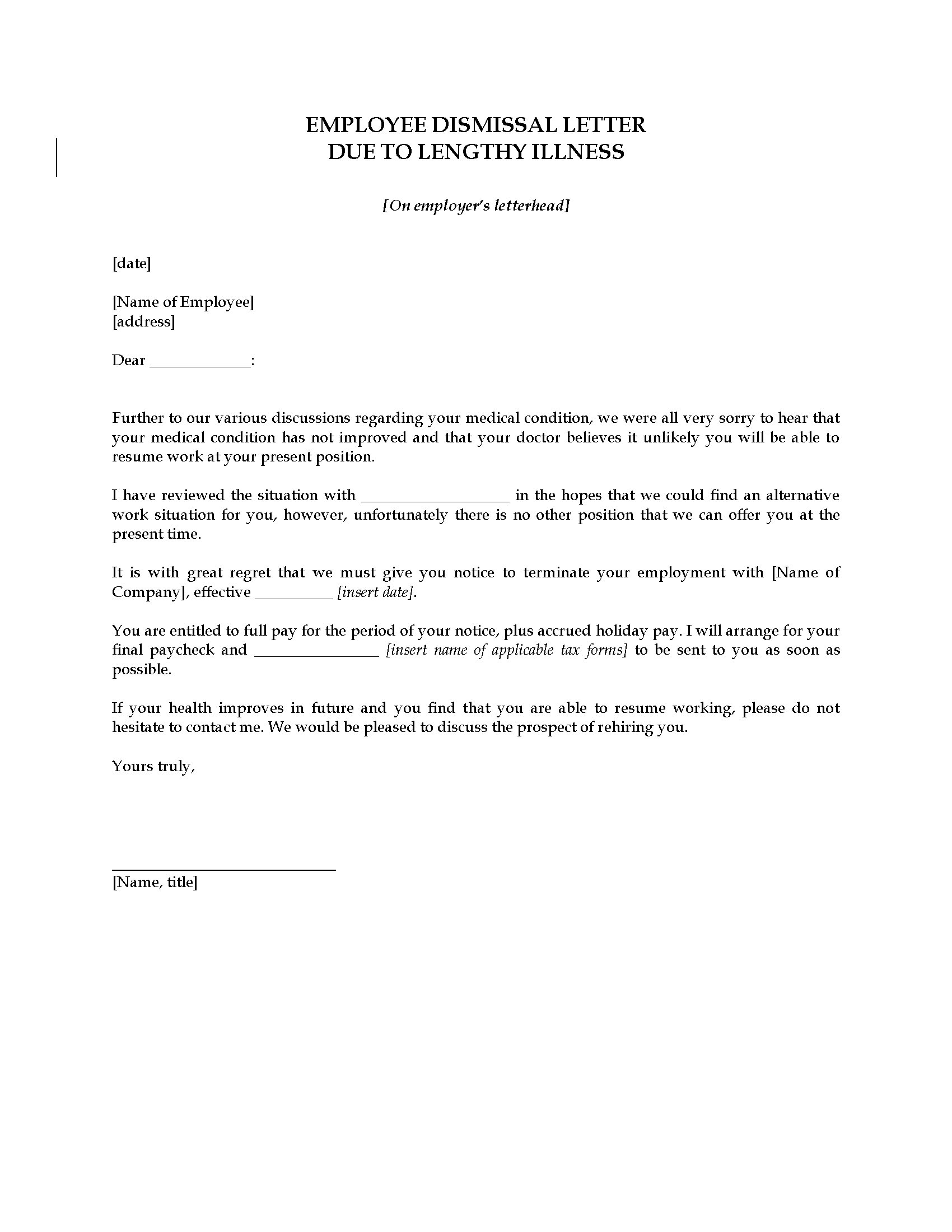 Employee Termination Letter Due to Lengthy Illness | Legal Forms ...