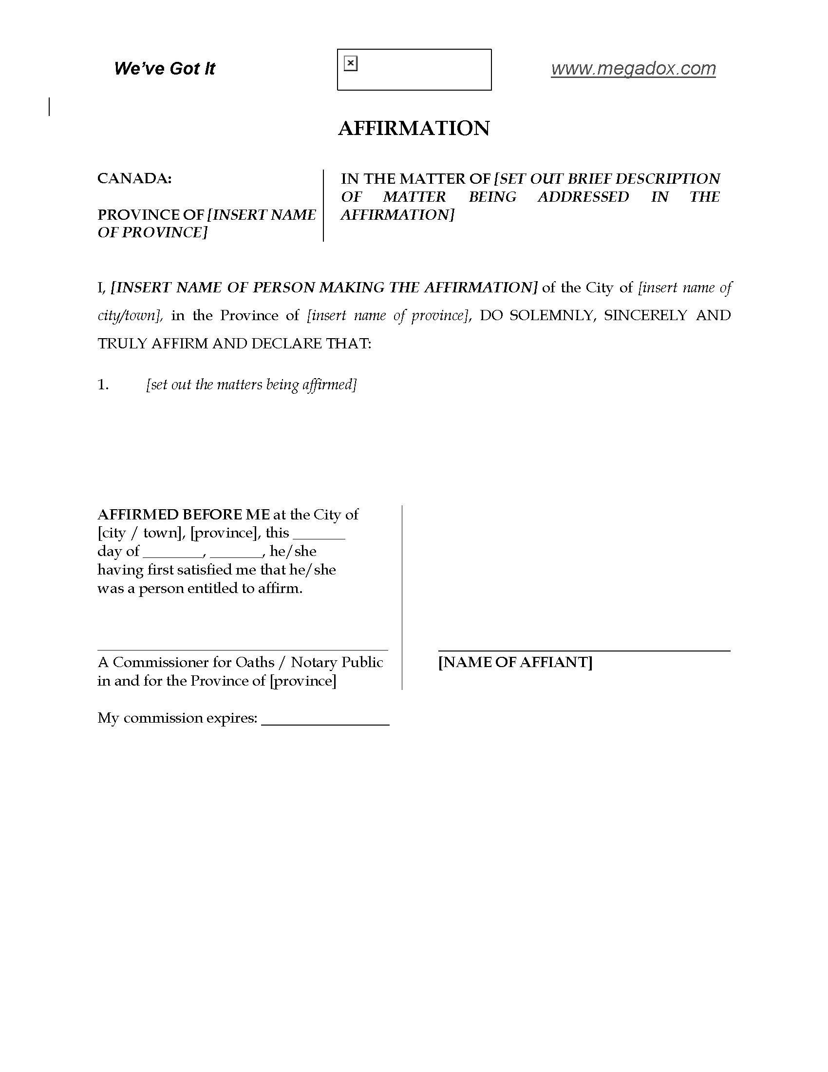 Canada Affirmation Form to be used in place of affidavit