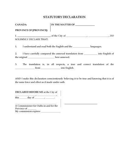 Canada statutory declaration of translator form legal for Declaration document template