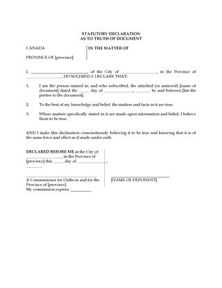 Canada statutory declaration for non english speaking for Declaration document template