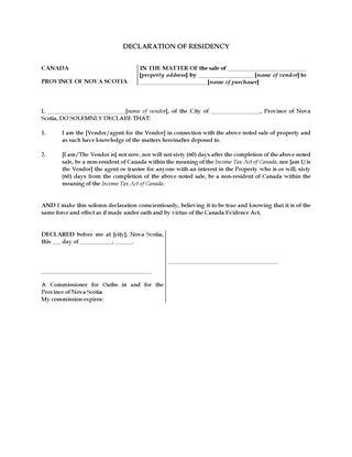 Picture of Nova Scotia Declaration of Residency