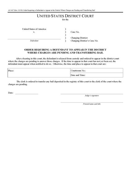 Picture of Order Requiring Defendant to Appear in District Where Charges are Pending (USA)