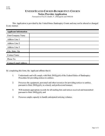 Picture of USA Bankruptcy Court Notice Provider Application
