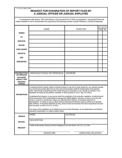 Picture of Financial Disclosure Report Request (USA)