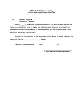 Picture of Notice of Termination of Agency by Agent