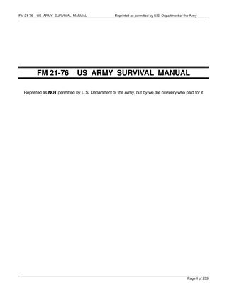 Picture of US Army Survival Manual