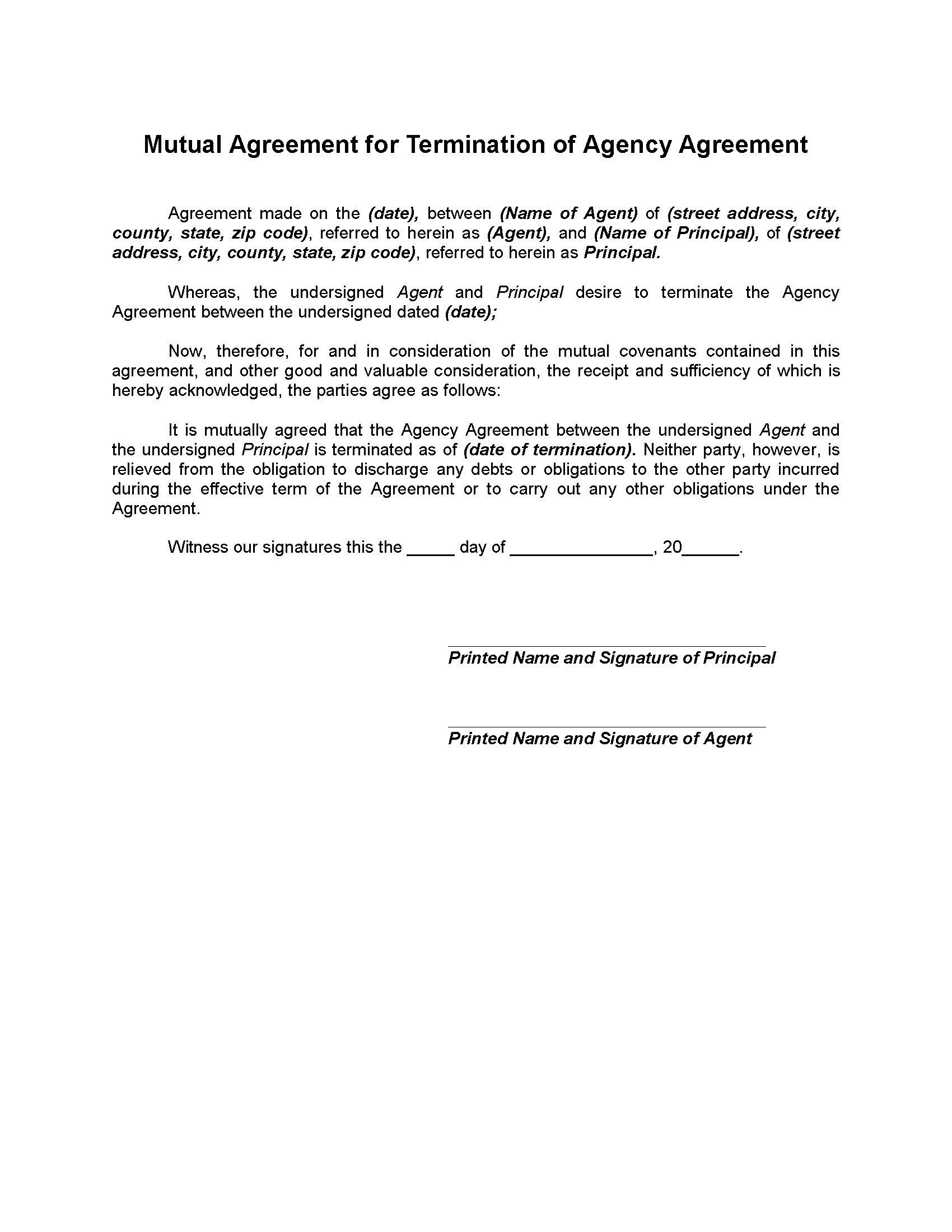 Mutual Termination Of Agency Agreement Legal Forms And Business