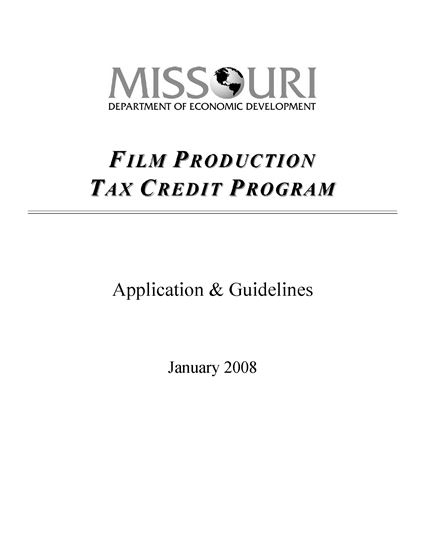 Picture of Missouri Film Production Tax Credit Application