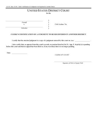 Picture of Clerk's Certification of Judgment to be Registered in Another District (USA)
