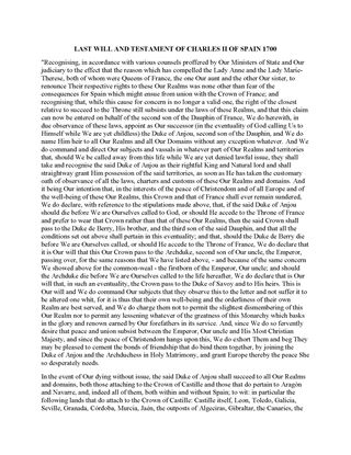 Picture of Charles II of Spain Last Will and Testament