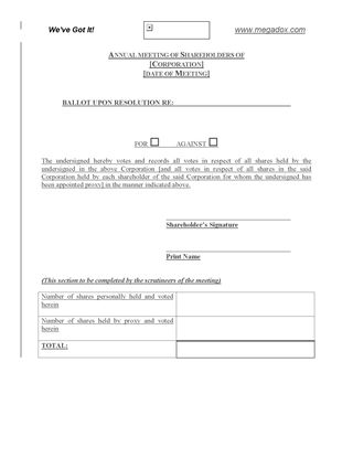 Picture of Ballot Form for Shareholder Meeting