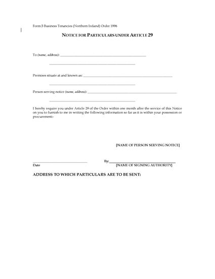 Picture of Northern Ireland Notice for Particulars of Business Tenancy