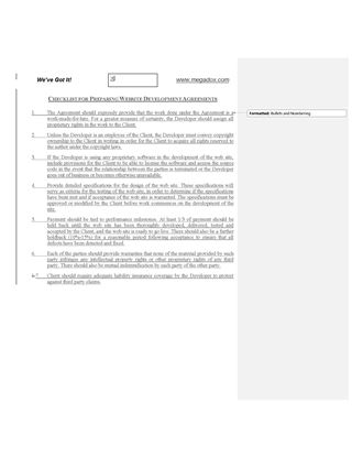 Picture of Checklist for Website Development Agreements