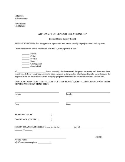 texas affidavit of lender relationship legal forms and