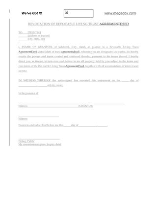 Picture of USA Revocation of Revocable Living Trust Deed