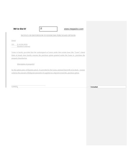 Picture of Notice of Tenant's Intention to Exercise Purchase Option