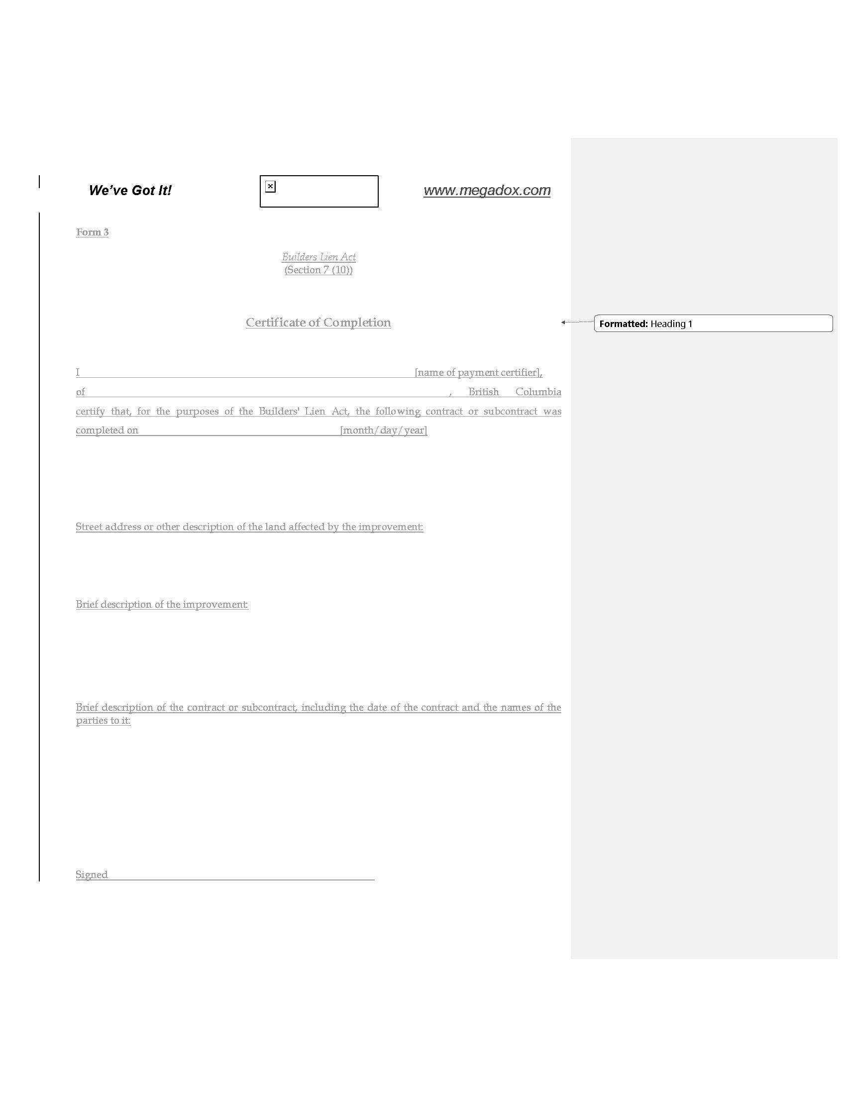 British columbia builders lien act form 3 certificate of picture of british columbia builders lien act form 3 certificate of completion yelopaper Choice Image
