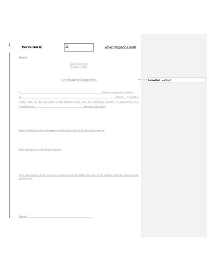 Picture of British Columbia Builders Lien Act Form 3 Certificate of Completion