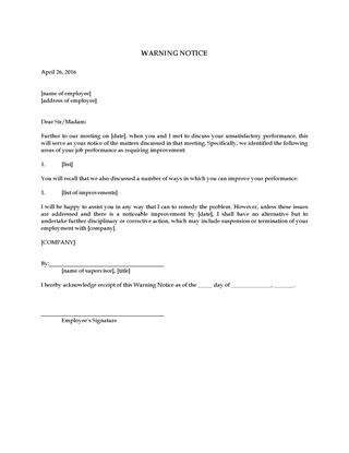 Picture of Reprimand Letter to Employee