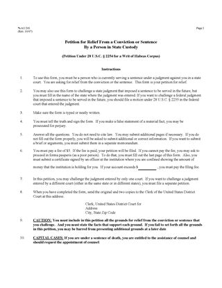 Picture of Petition for Writ of Habeus Corpus (USA)