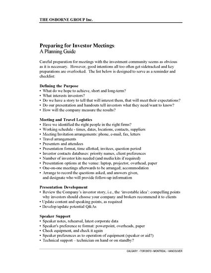 Picture of Preparing for Investor Meetings: A Planning Guide and Checklist