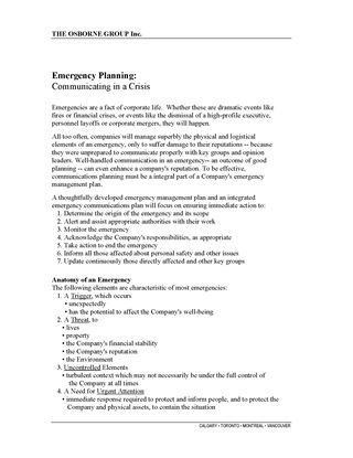 Picture of Emergency Planning: Communication in a Crisis