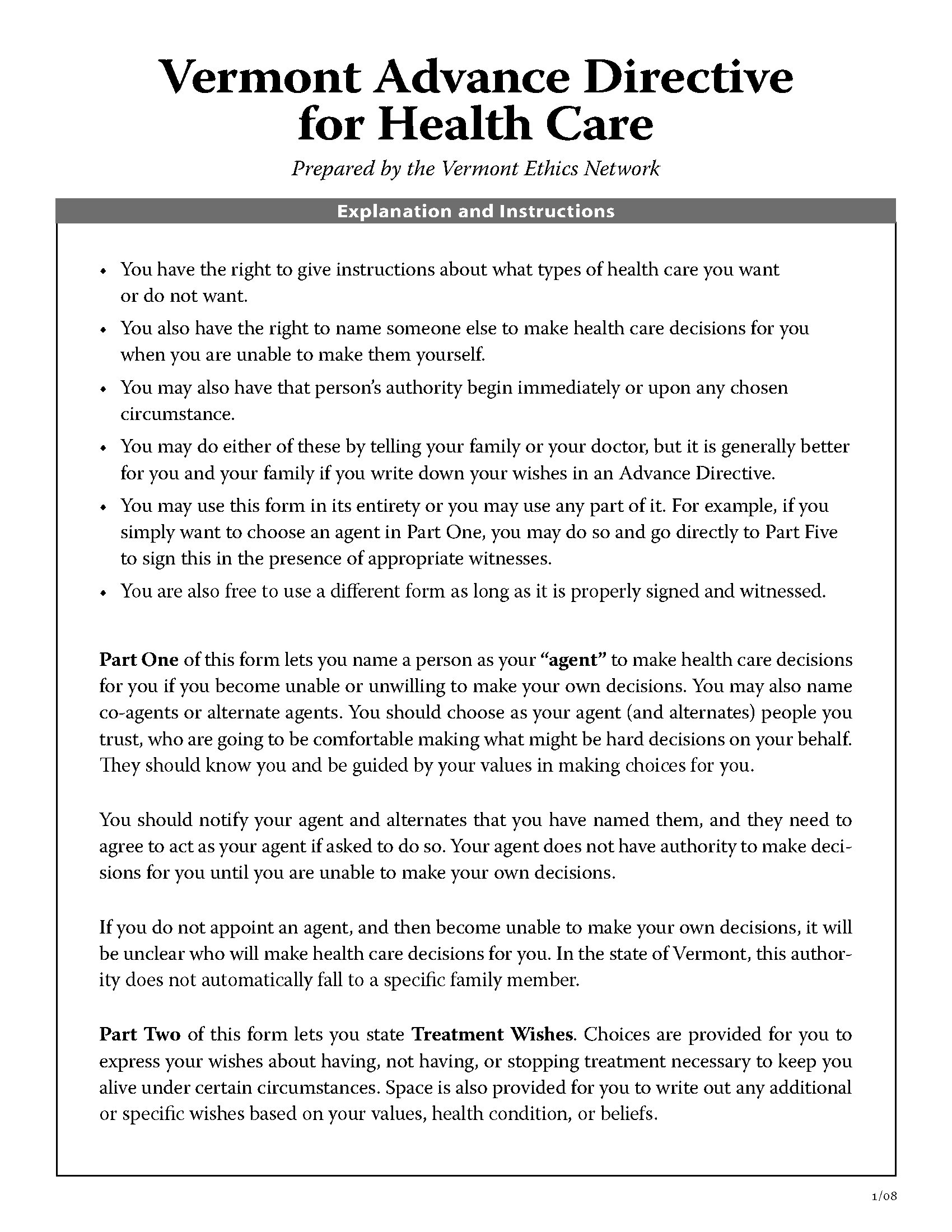 advanced directive template - vermont advance directive for health care short form