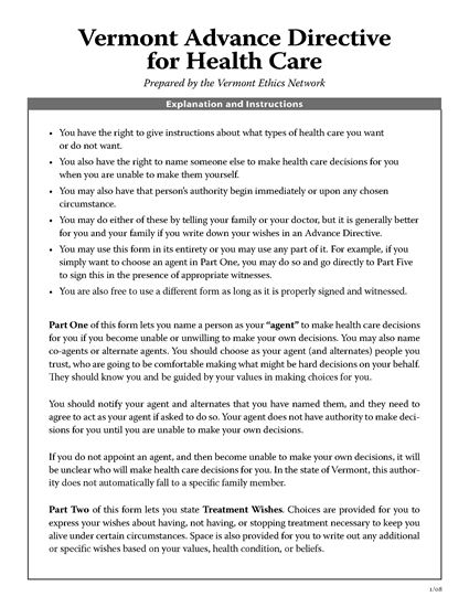 Picture of Vermont Advance Directive for Health Care (short form)
